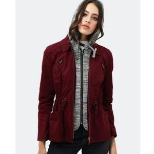 Maroon Utility Hooded Longsleeve Layered Jacket